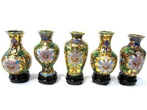 SET-of-5-PCS-Chinese-Cloisonne-Vase-w-Stand-Bronze-Brass-Copper-Enamel-Handmade