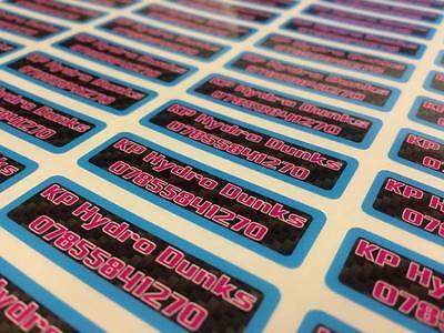 Personalizado impreso etiquetas de vinilo de Etiquetas Calcomanías Logotipo signo coche van Negocio Bicicleta