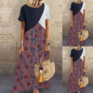 Women-Summer-Sundress-Short-Sleeve-Loose-Midi-Dress-Patchwork-Shirt-Dress-Plus