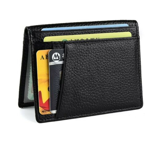 Fashion Men Slim Thin Genuine Leather Bifold Id Wallet Money Credit Card Holder