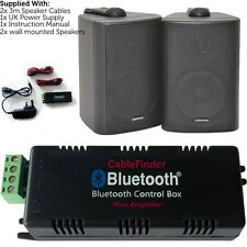 Wireless/Bluetooth Amplifier & 2x 60W Black Wall Mounted Speakers – Amp System