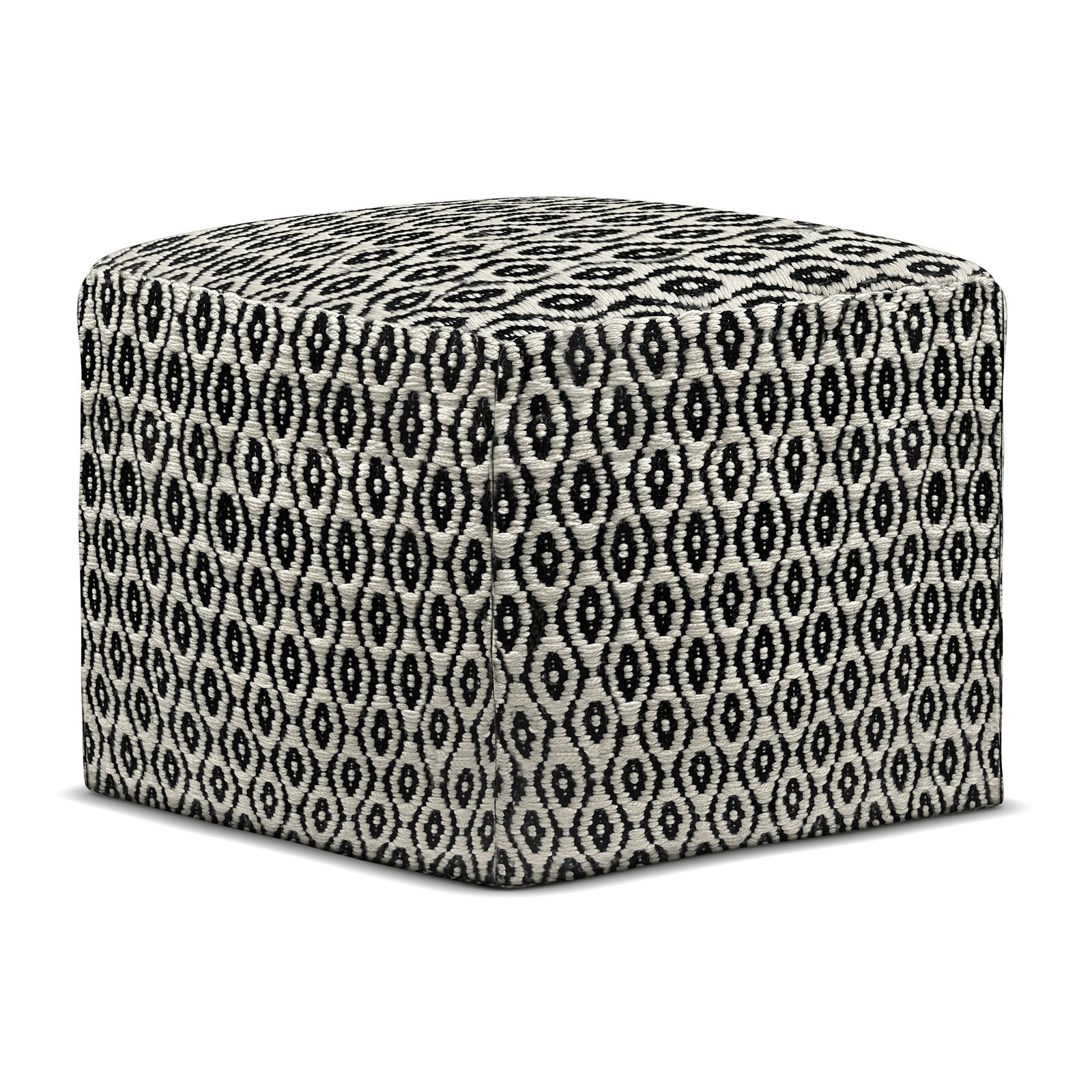 Kiana Boho Square Woven Outdoor/ Indoor Pouf in Black and White Recycled PET ...