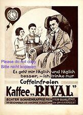 Kaffee koffeinfrei Rival Reklame 1926 Kinder Vater Uhr Morgenrock Werbung +