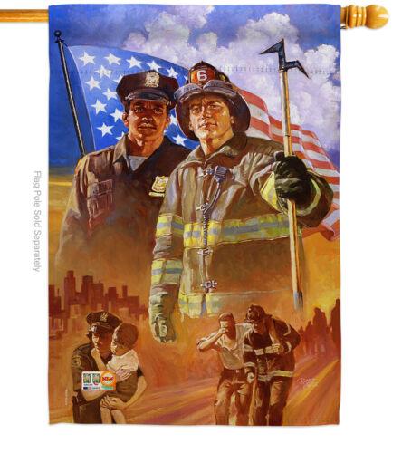 Heroes Patriotic 911 Police Firefighter Help Garden House Yard Flag