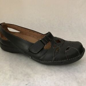 Clarks-Unstructured-Shoes-Womens-Size-6-5-Black-Loafers-64044-Sz-6-1-2