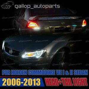 Fit-Holden-Commodore-VE-1-2-2006-2013-Sequential-Headlight-and-Red-Lens-Tailight