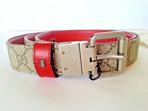 806b2a38c NEW Authentic Gucci GG Monogram Reversible Belt Red Beige 46IN/115CM ...