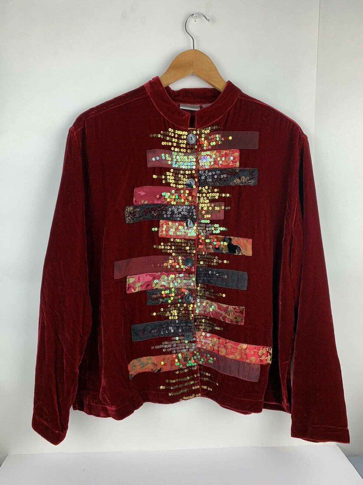 Chicos Womens Button Jacket Red Velvet Velour Ope… - image 2