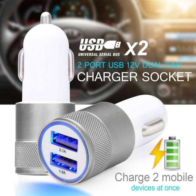 3.1A Dual USB Car Charger Alloy 2 Port Universal Charging For Samsung iPhone UK