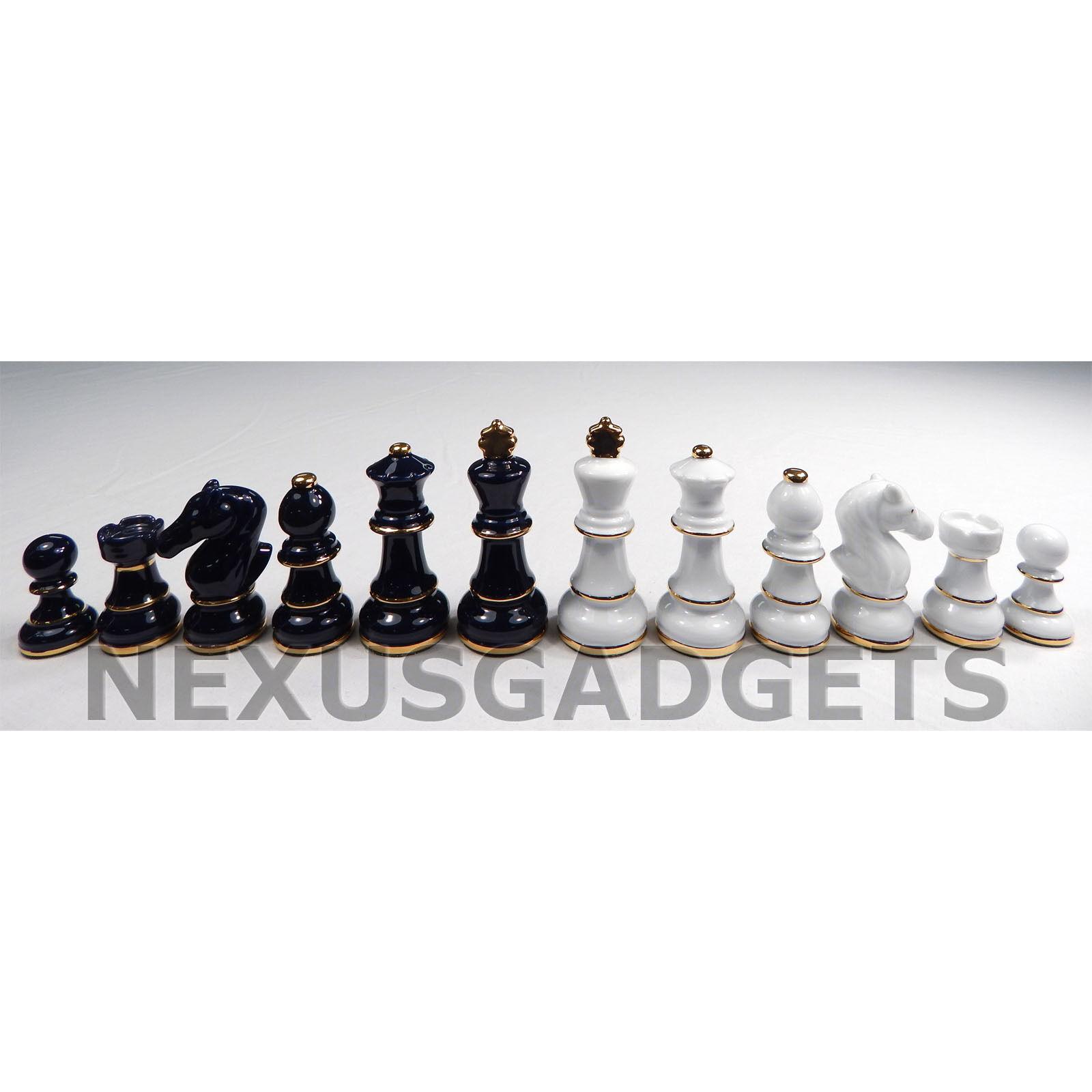Dib Bleu Foncé & Blanc Porcelaine Pièces d'échecs 3.5 in (environ 8.89 cm) King Ensemble Classique no Board