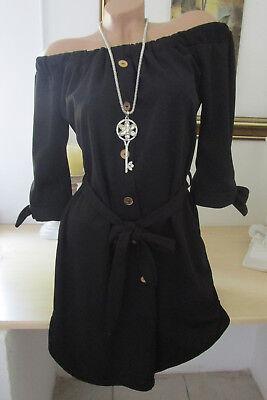 Italy Hemdblusekleid Kleid Off-Shoulder Carmen Knöpfe Gürtel Schwarz 36 38 40