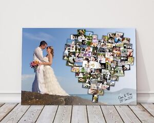 Personalised Heart Shape Collage Canvas Picture Print Wedding