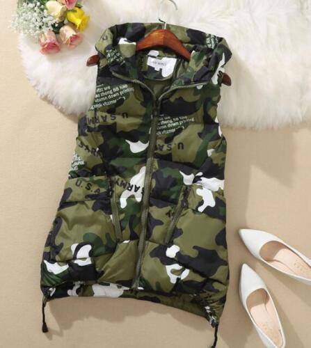 Women Down Coat Vest Jacket Warm Sleeveless Camouflage Hood Casual Big Pocket