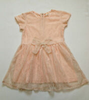 New Ex Next Girls Peach Bow Skater Lace Party Dress Age 24 Month 2 3 4 5 6 Years