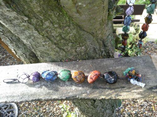 Pretty Crystal Chakra 7 Stone Macrame Hanging Ornament Reiki Healing Feng Shui