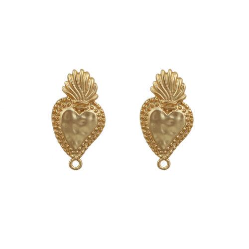 Ohrring Ohrstecker Metall Herz 31x17mm gold matt mit Stöpsel 1 Paar #01.00418