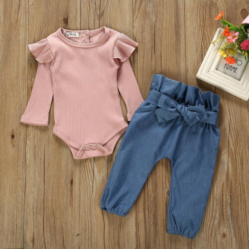 Newborn Infant Baby Girls Long Sleeve Tops Romper Pants Outfits Set Clothes RV