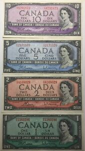 LOT-OF-4-BANK-OF-CANADA-1954-TEN-10-FIVE-5-TWO-2-AND-1-ONE-DOLLAR-BANK-NOTES