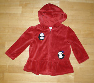 36883c19a GYMBOREE WINTER PENGUIN RED VELOUR HOODED JACKET GIRLS 12 24 MONTHS ...