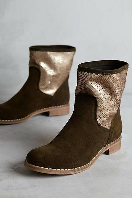 Anthropologie Noee Pasquale Tredta Shimmered Olive Green Suede Ankle Boot Sz 40
