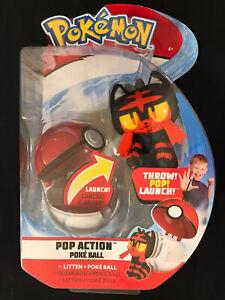 Pokemon Pop Action Poke Ball Litten /& Poke Ball Throw Poke Ball Plush