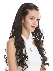 Halbperuecke-Haarteil-Haarreif-Haarband-Dunkelbraun-gelockt-Locken-lang-70-cm