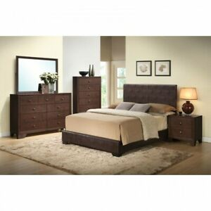 Queen Faux Leather Bed Brown Wooden Panel Bedframe