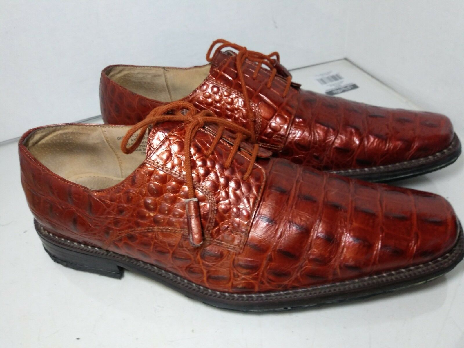 Giorgio Brutini Bronze Copper Metallic Croc Print Dress Oxfords Mens Size 11 M