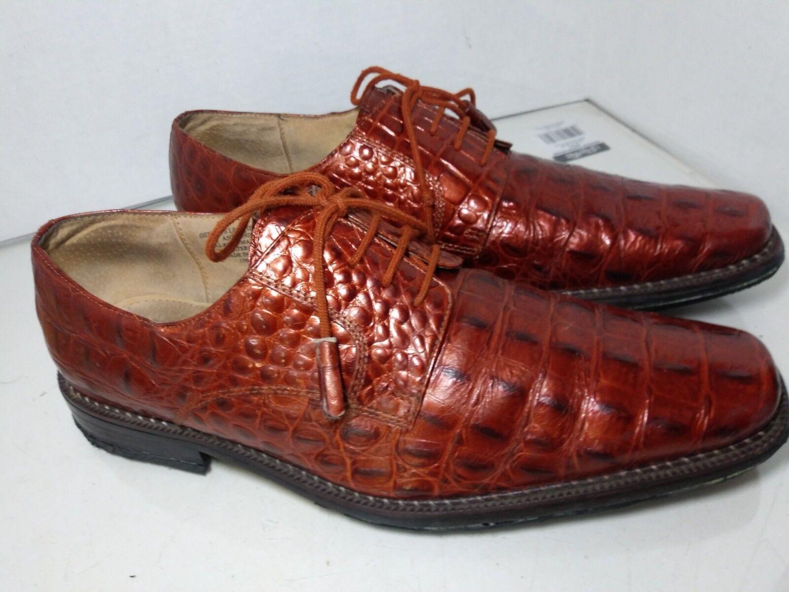Giorgio BrutiniBronze Copper Metallic Croc Print Dress Oxfords Mens Size 11 M