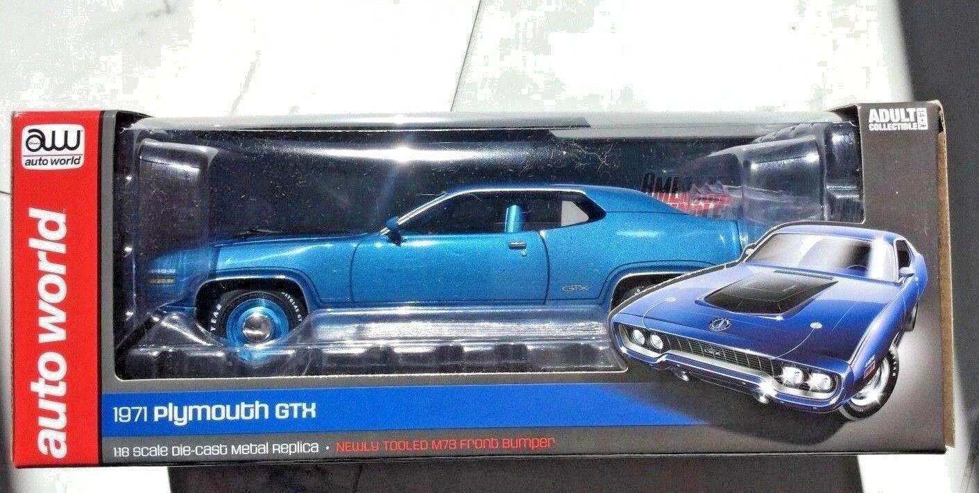AUTO WORLD 1 18 1971 bleu PLYMOUTH GTX  LTD EDITION  1 OF 1002 ITEM    1065 F S