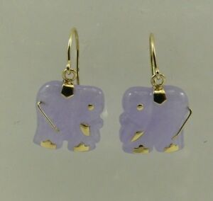 Image Is Loading Lavender Jade Elephant Dangle Earring 14k Yellow Gold