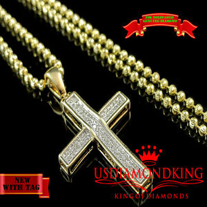 10K-SOLID-YELLOW-GOLD-GENUINE-DIAMOND-MINI-JESUS-CROSS-CHARM-PENDANT-CHAIN-SET