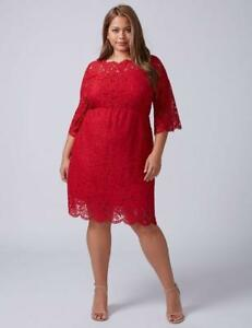 LANE-BRYANT-NWT-New-Plus-14-18-20-22-24-Scallop-Edge-Lace-FIT-amp-FLARE-Dress