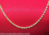 Brand Mens Womens 10k Yellow Gold Necklace Solid Rope Chain 1.5mm 16 Inch