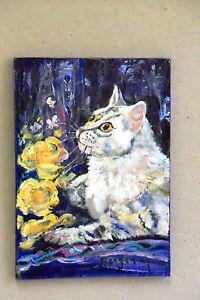 Orig miniature acrylique/carton chat & fleurs BERGER - France - Type: Acrylique Thme: Animaux Période: XXme et contemporain Caractéristiques: Signé - France