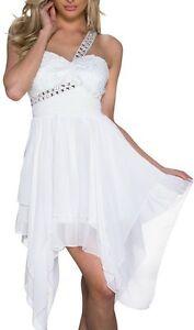Sexy-Miss-Damen-Kleid-Chiffon-Dance-Salca-Dress-Edel-Steine-S-M-34-36-weiss-NEU