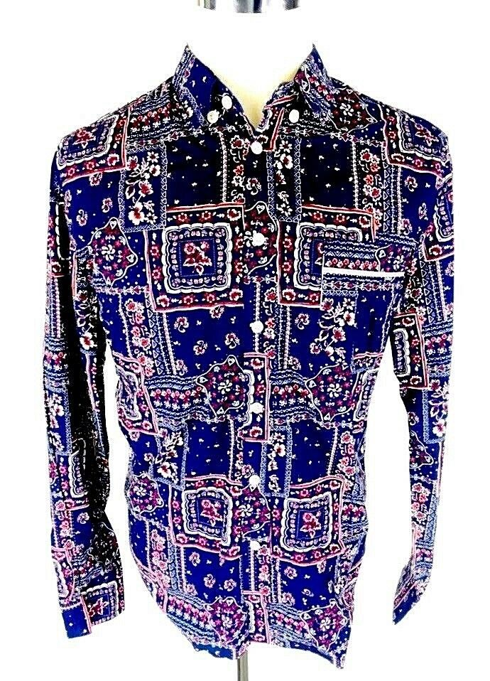 bca921ba Surface To Air Men's Button Front Shirt L Large Southwest Floral Navy bluee  Red
