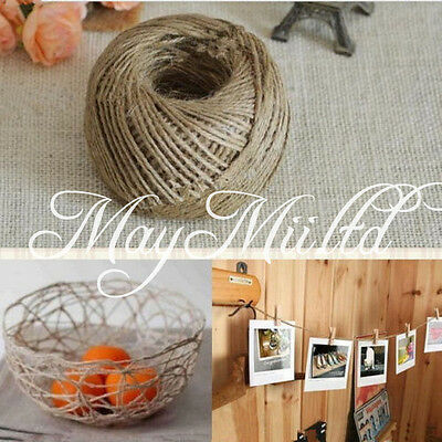50M 3Ply Chic 3mm Natural Jute Twine Hessian String Hemp Wrap Cord Tag Crafts Z