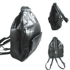 Genuine Leather Sling Tote Bag Shoulder Purse Womens Handbag Backpack Black New
