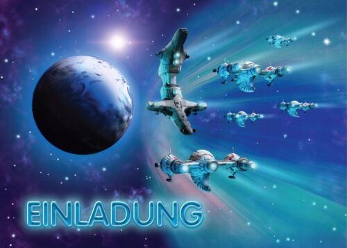 Einladungskarten Kindergeburtstag Umschlag Jungen Weltraum Raumschiff Space