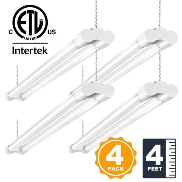4ft Led Shop Light >> 4 Pack Led Shop Lights For Garage 36w 4ft Bbounder Utility Lighting Plug In 3600