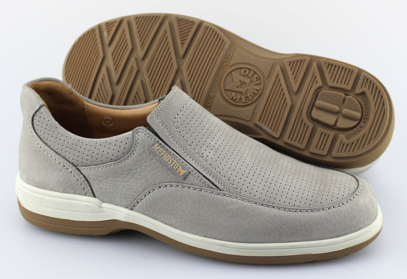 Men's MEPHISTO 'Davy' grigio Leather Perforated Loafers Dimensione US 8 EUR 7.5