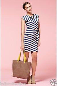 Louche-London-Badger-Dress-w-Dark-Navy-Blue-amp-White-Cream-Stripe-Panels-LL-0005