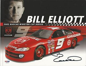 Bill Elliott Pro NASCAR Racer Signed 8x10 Photocard - PSA/DNA # Y09297