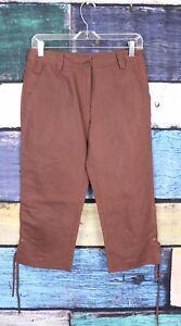 60e918bf05be Details about Soft Surroundings Petites 4 4P Brown Linen Blend Side Tie Crop  Capri Pants