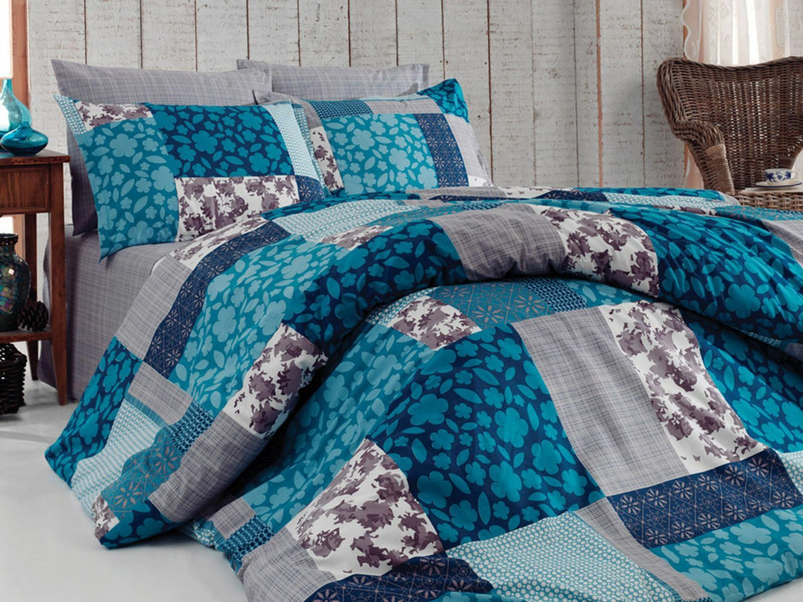 Bettwäsche 135x200 Bettgarnitur Bettbezug Baumwolle Kissen 6 Tlg Bl