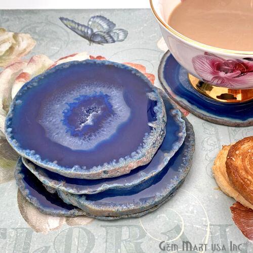 Blue Agate 2 Coasters Set Healing Crystal Geode Druzy Slices Rock Drinkware Gift