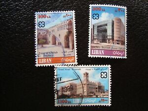 Libano-Sello-Yvert-Tellier-N-342-343-345-Matasellado-A45