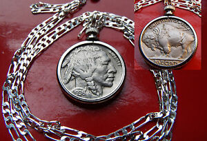 CLASSIC-1936-MINT-FULL-HORN-BUFFALO-Nickel-on-a-30-034-925-Sterling-Silver-Chain