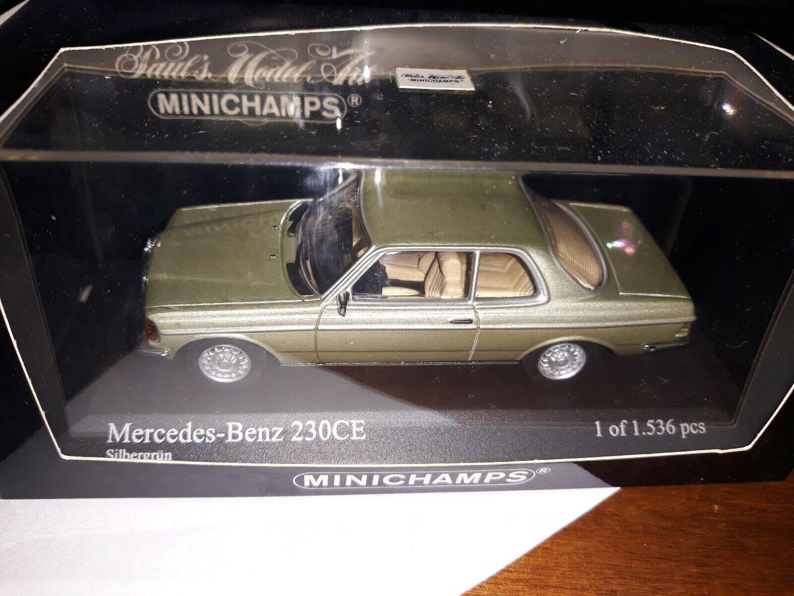 Minichamps 1 43 Mercedes Benz 230CE 1977 argentoogrun